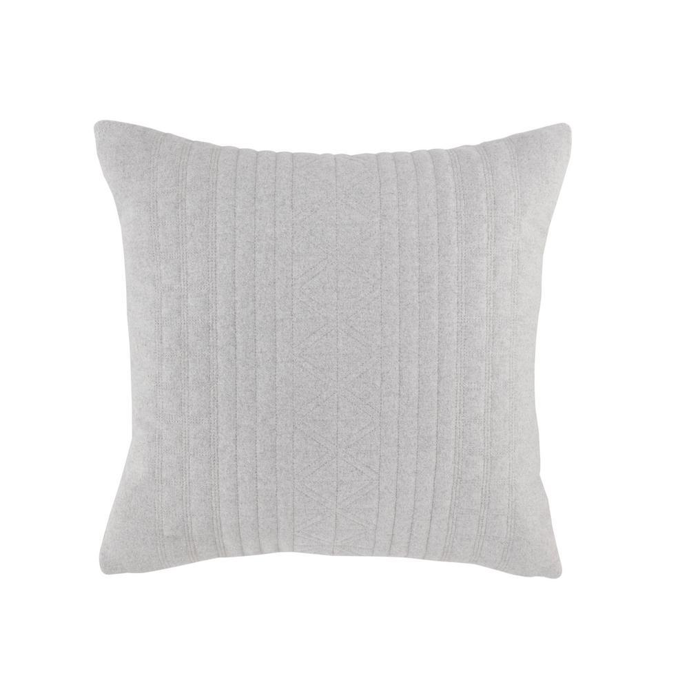 Seaford Grey Plush 18 in. x 18 in. Decorative Pillow
