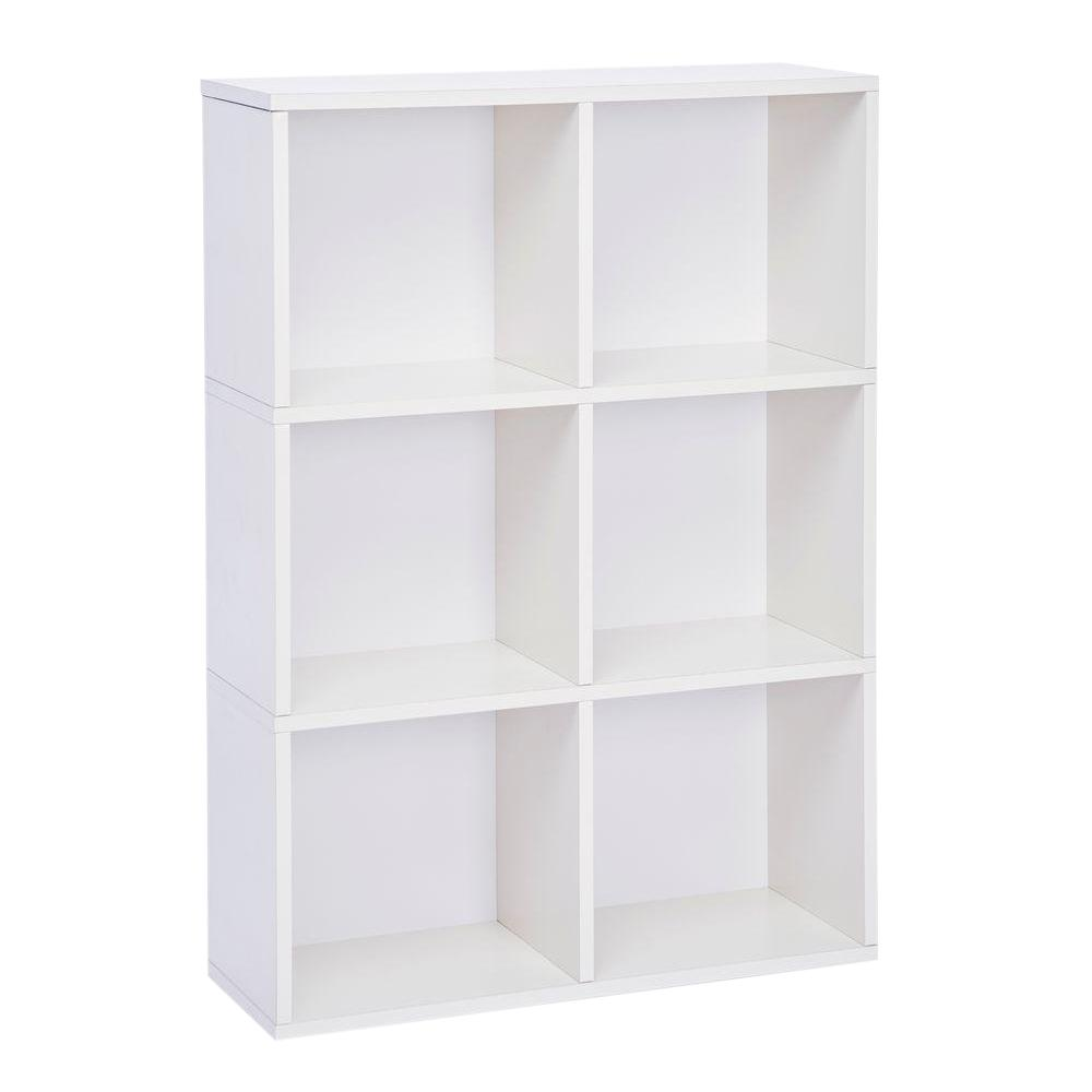 Way Basics Tribeca 6 Cubby zBoard  Eco Bookcase, Tool-Free Assembly Storage Organizer in Pearl White