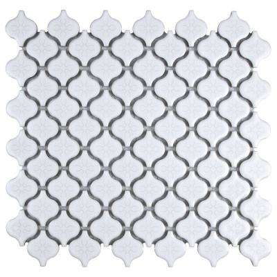 Lantern Mini Glossy White 10-3/4 in. x 11-1/4 in. x 5 mm Porcelain Mosaic Tile