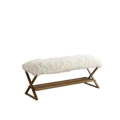 17 in. Ellie White Faux Fur Matte Gold Bench