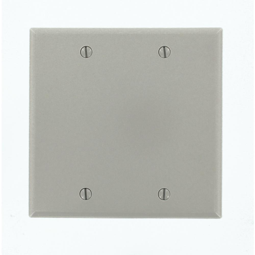2-Gang Blank Wall Plate, Gray