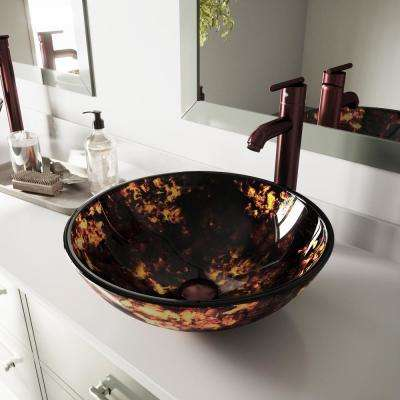 Glass Vessel Bathroom Sink in Brown and Gold Fusion with Faucet Set in Oil Rubbed Bronze