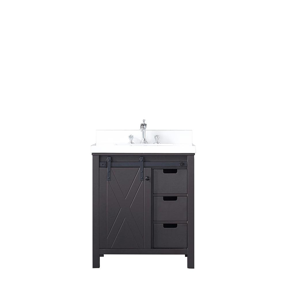 Lexora Marsyas 30 in. Single Vanity Brown White Quartz Top White Square Sink and No Mirror