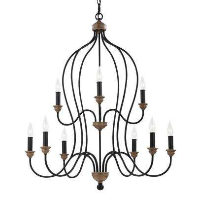 Hartsville 9-Light Dark Weathered Zinc/Weathered Oak Multi-Tier Chandelier