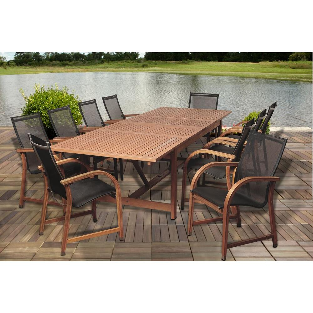 Amazonia Richards Rectangular 9 Piece Eucalyptus Extendable Patio Dining Set