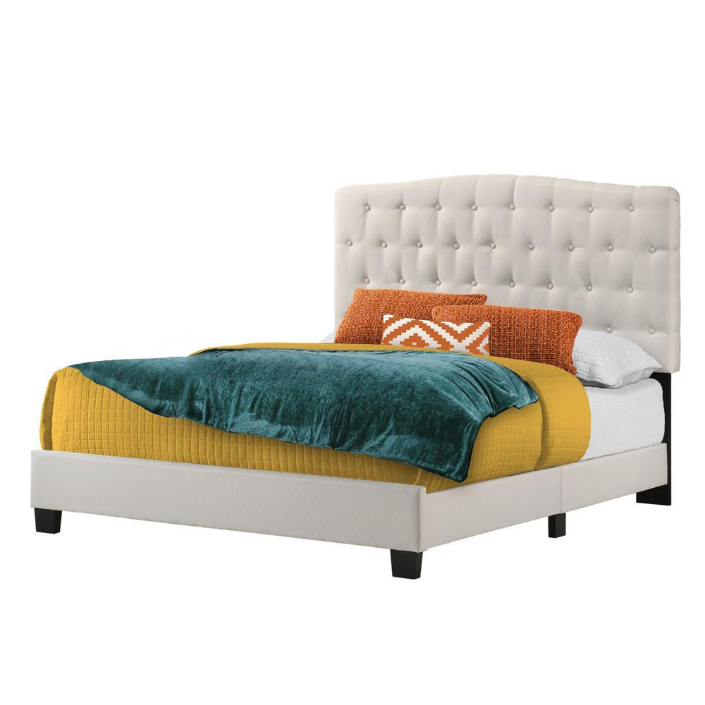 Cape Coral Beige Linen King Upholstered Bed