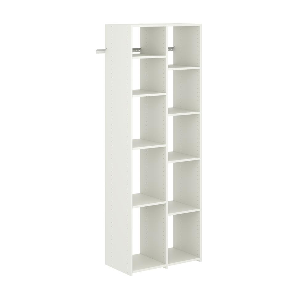 Closet Evolution 14 in. D x 25.875 in. W x 72 in. H Classic White Wood Adjustable Shoe Tower Closet Kit