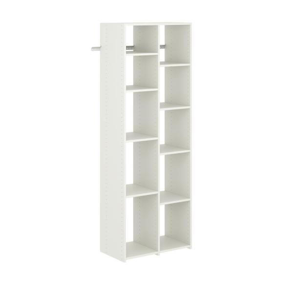 26 in. W White Adjustable Shoe Wood Closet Tower