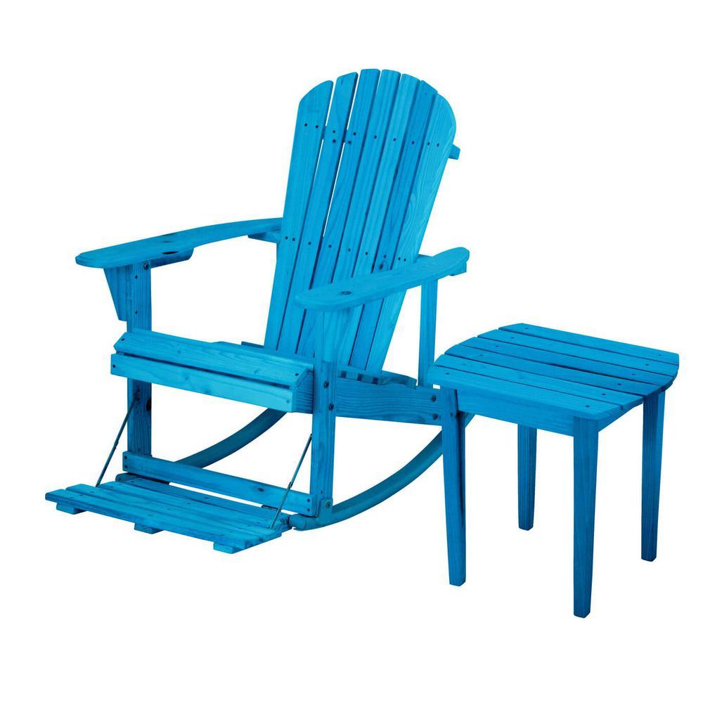Zero Gravity Sky Blue 2-Piece Wood Adirondack Rocking Chair Bistro Set