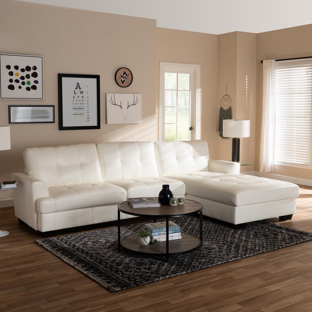 Baxton Studio Adalynn 2 Piece Faux Leather Sofa Set in White