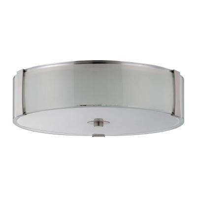 Rowley 3-Light Bright Satin Nickel Flush Mount