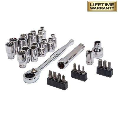 1/4 in. Drive 6-Point Pass Thru Ratchet and Socket Set (30-Piece)
