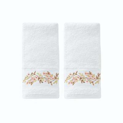 Misty Floral Cotton Hand Towel Set In White (2-Piece)