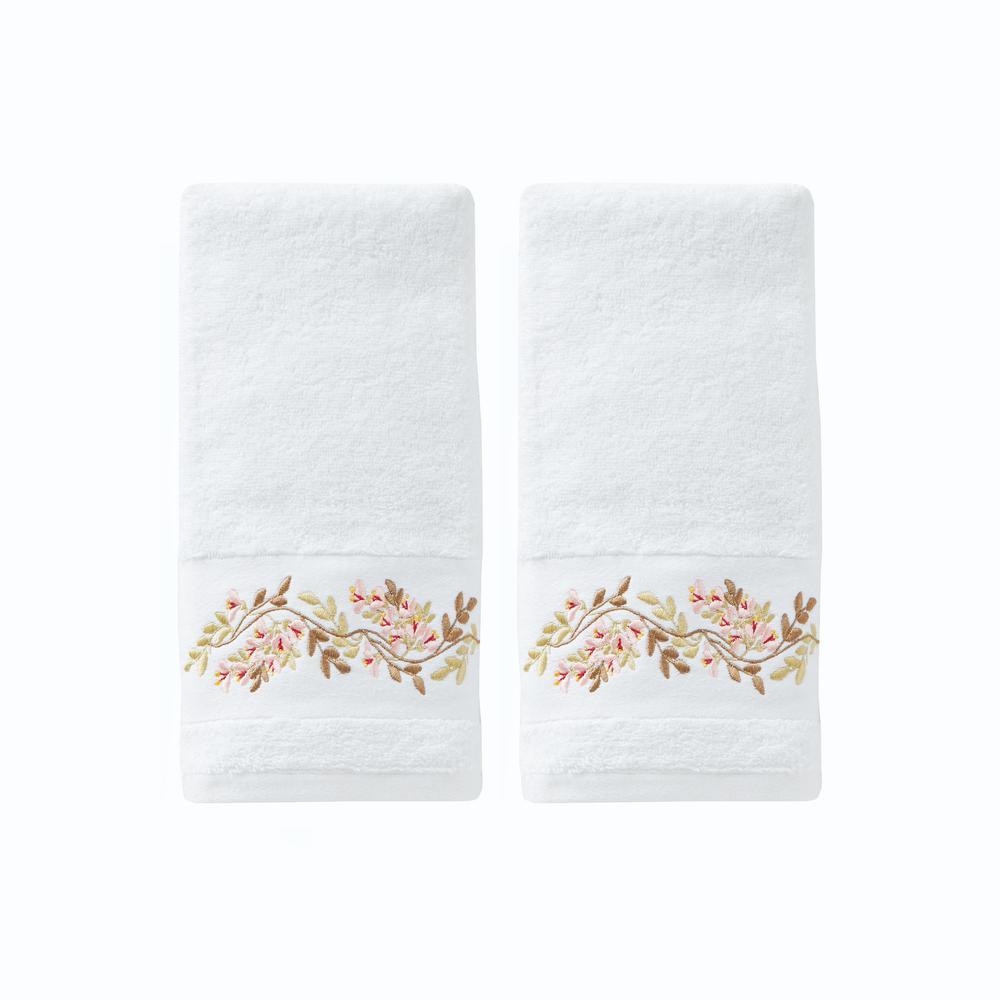 Misty White Floral Cotton Single Hand Towel