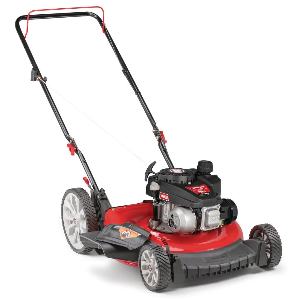 Troy-Bilt 21 in. 140 cc Gas Walk Behind Push Mower with High Rear Wheels and 2-in-1 Cutting TriAction Cutting System