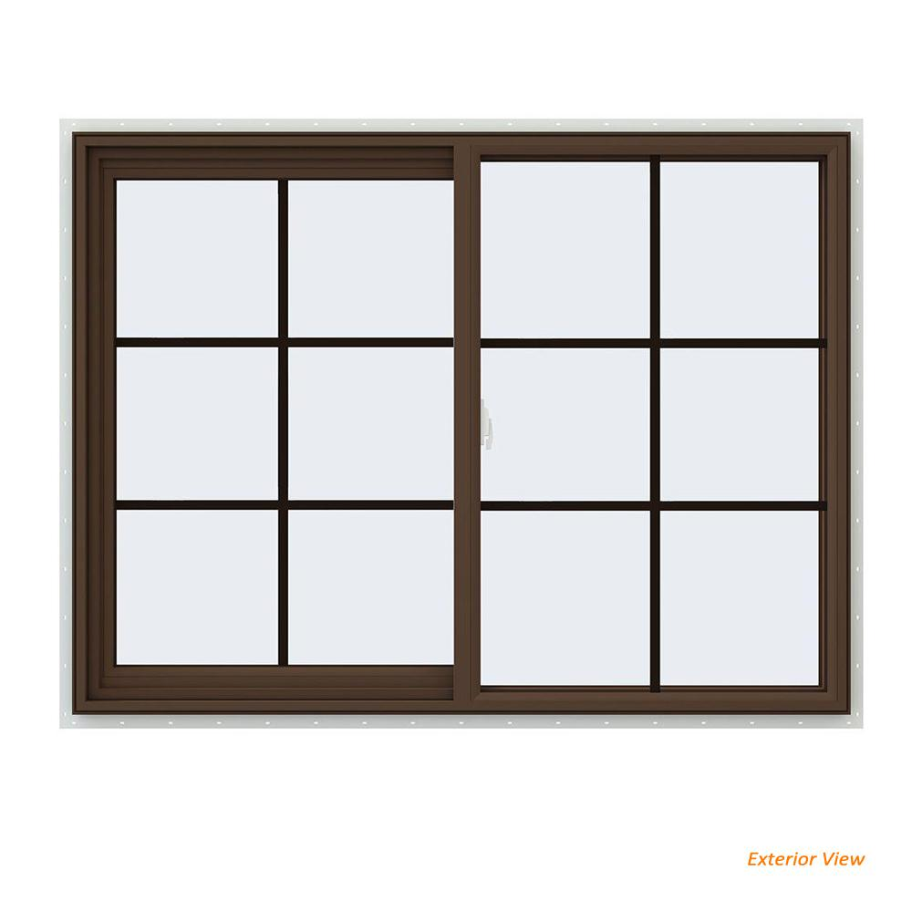 JELD-WEN 47.5 in. x 35.5 in. V-2500 Series Brown Painted Vinyl Left-Handed Sliding Window with Colonial Grids/Grilles
