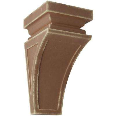 6 in. x 12 in. x 6-3/4 in. Weathered Brown Large Nevio Wood Vintage Decor Corbel