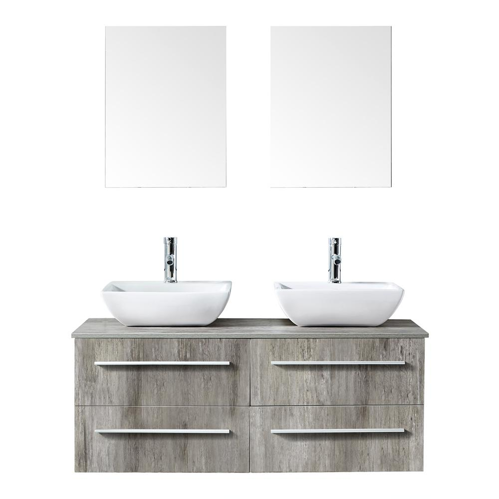 Mediterraneo Victoria 48 in. W x 18 in. D x 18 in. H Bath Vanity in PVC with Top in Natural Laminate with White Basins and Mirror