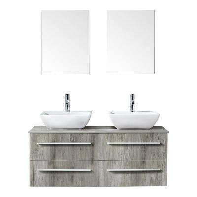 Victoria 48 in. W x 18 in. D x 18 in. H Bath Vanity in PVC with Top in Natural Laminate with White Basins and Mirror