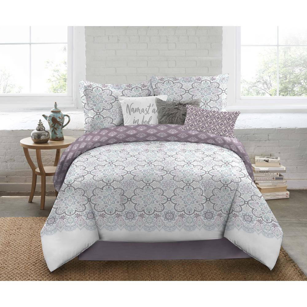 Nicole Miller 5 Piece Queen Multi Medallion Comforter Set Q Bloss 999 The Home Depot
