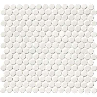 Penny Round Bianco 11.3 in. x 12.2 in. x 6mm Ceramic Mesh-Mounted Mosaic Tile