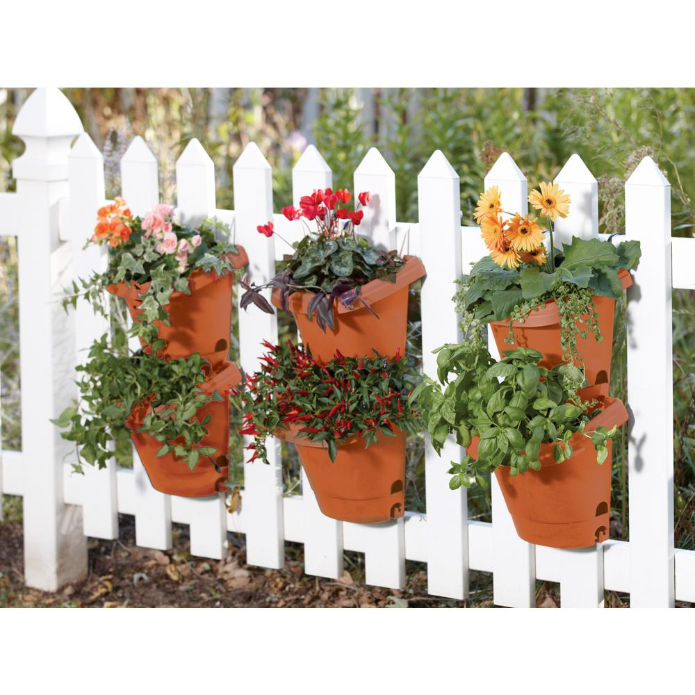 Bloem Terra Cotta Hanging Garden Plastic Planter System (3  Pack) 482121 1001   The Home Depot