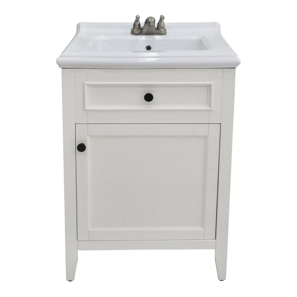 Hudson 24 in. Bathroom Vanity in White With Ceramic Vanity Top In White With White Basin