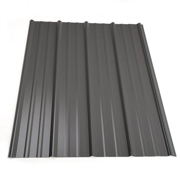10 ft. Classic Rib Steel Roof Panel in Charcoal