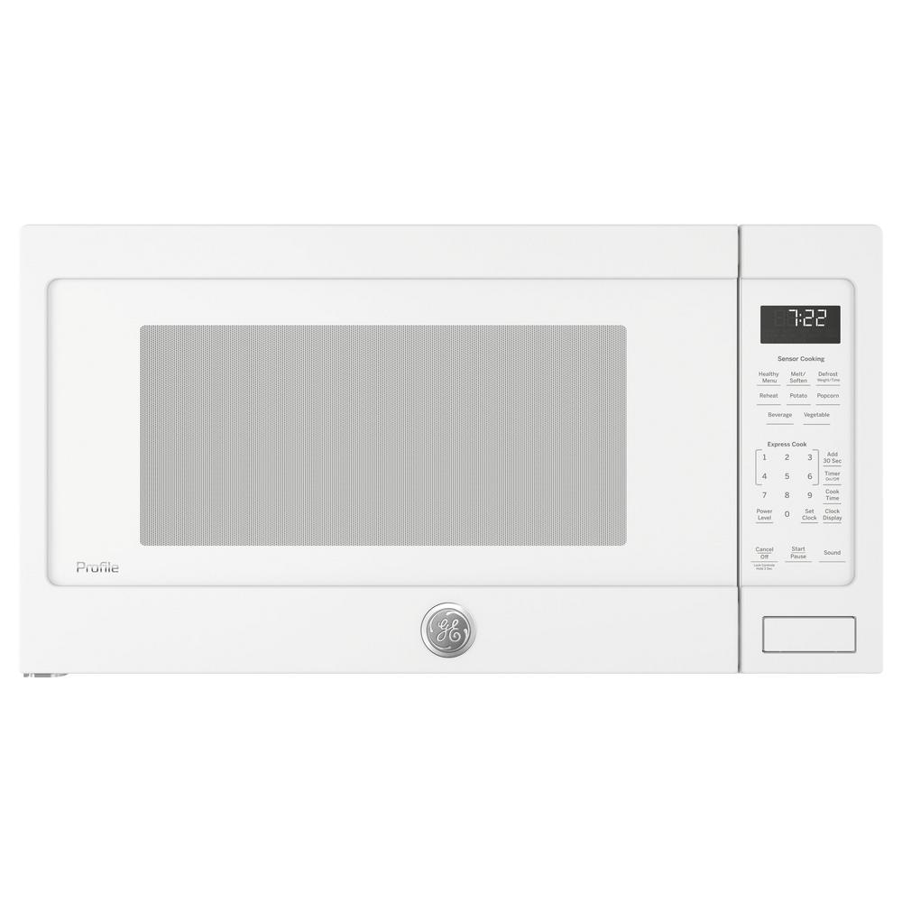 Ge Profile 2 2 Cu Ft Countertop Microwave In White With