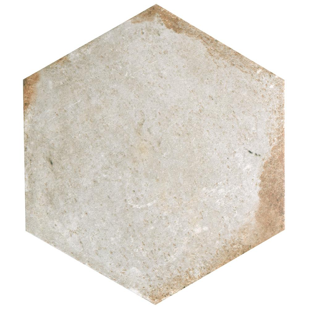 D'Anticatto Hex Bianco 11 in. x 12-5/8 in. Porcelain Floor and