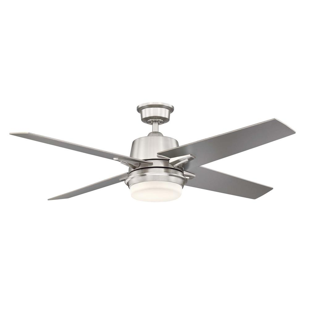Home Decorators Collection 56 in. Montel LED Brushed Nickel Ceiling Fan With Light and Remote Control