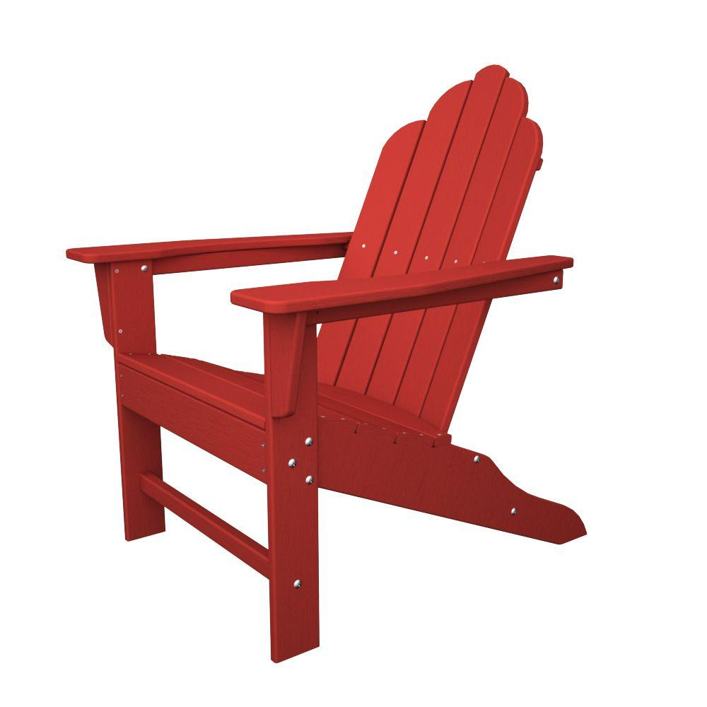 Polywood Long Island Sunset Red Plastic Patio Adirondack Chair