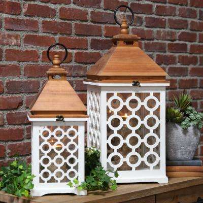 White Candle Wooden Decorative Lantern