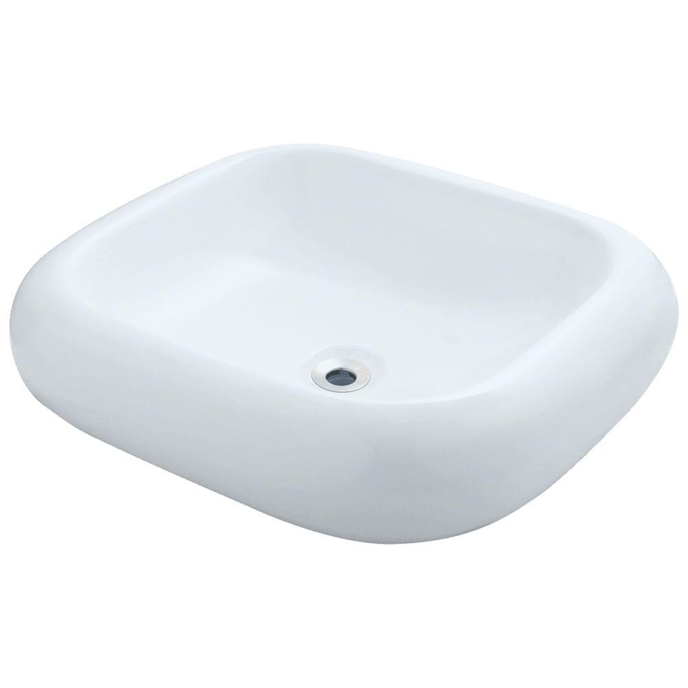 Mr Direct Porcelain Pillow Top Vessel Sink In White