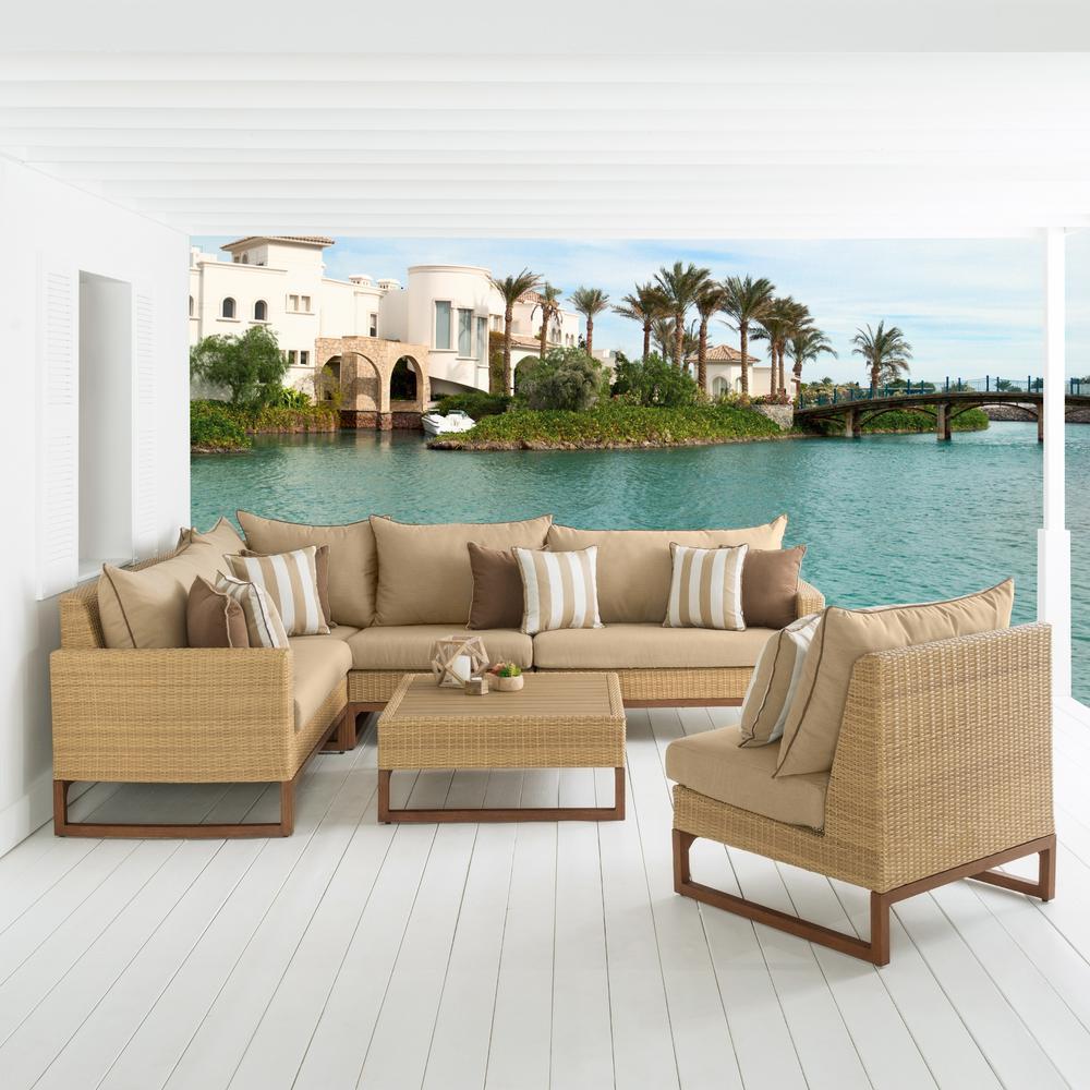 Mili 6-Piece Wicker Patio Sectional Seating Set with Sunbrella Maxim Beige Cushions