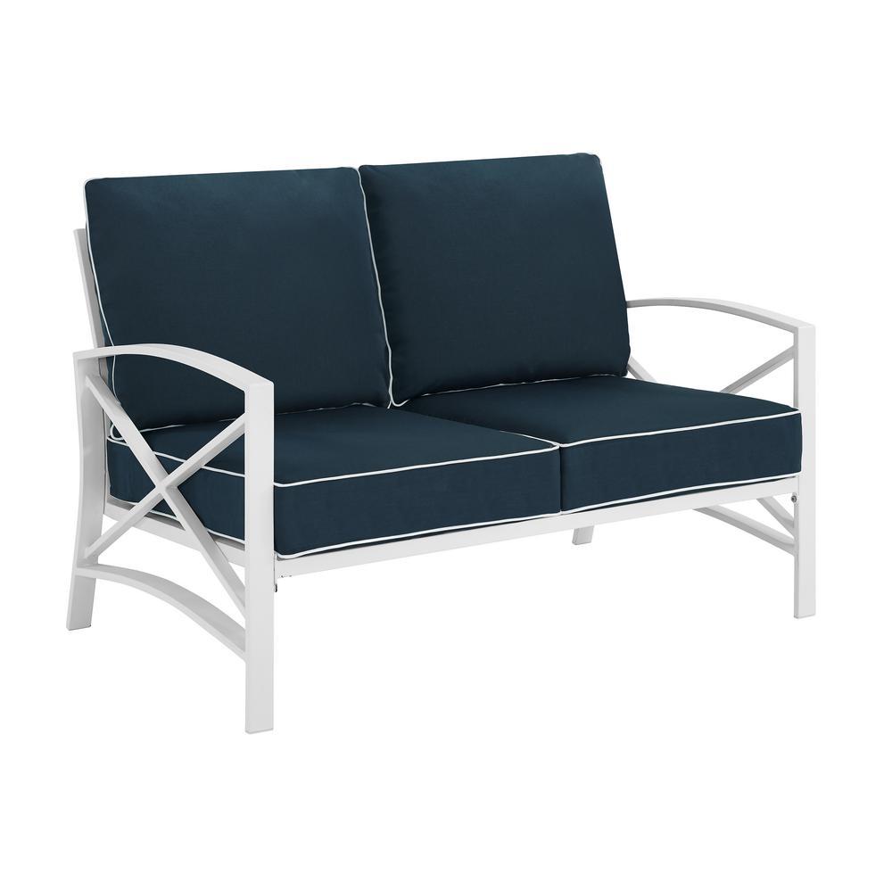Crosley Kaplan White Metal Outdoor Loveseat with Navy Cushions