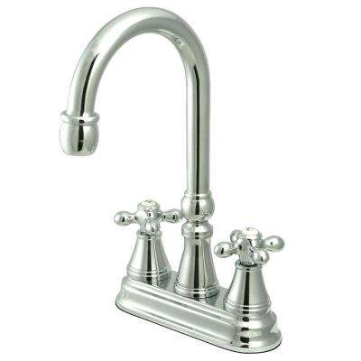Classic 2-Handle Bar Faucet with Solid Handles in Chrome