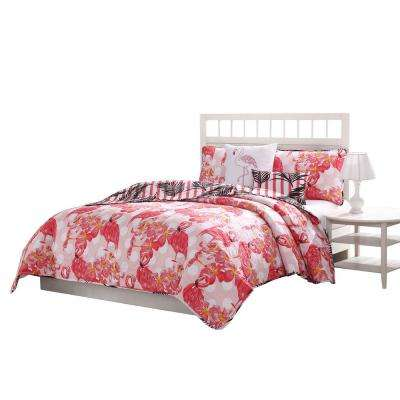 Flamingo Reversible 5-Piece Queen Quilt Set