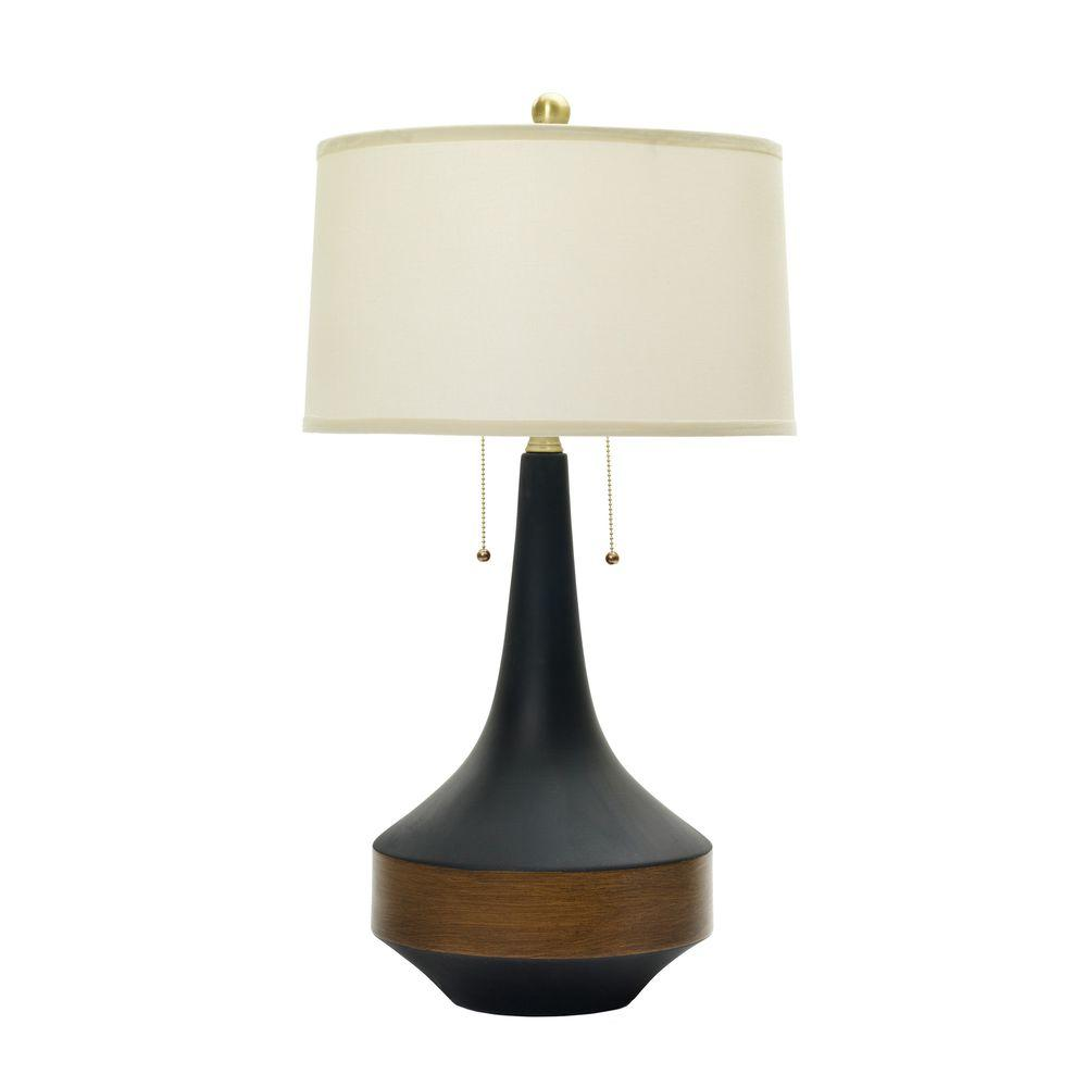 Wood table lamps lamps the home depot ceramic table lamp in matte black with dark oak geotapseo Image collections