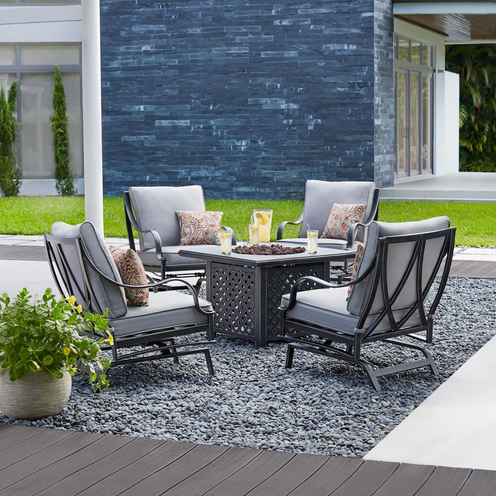 Hampton Bay Highland Point 5-Piece Aluminum and Steel Patio Fire Pit Conversation Set with Gray Cushions