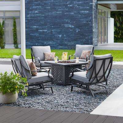 highland point 5 piece aluminum and steel patio fire pit conversation set with gray cushions - Fire Pit Patio Set