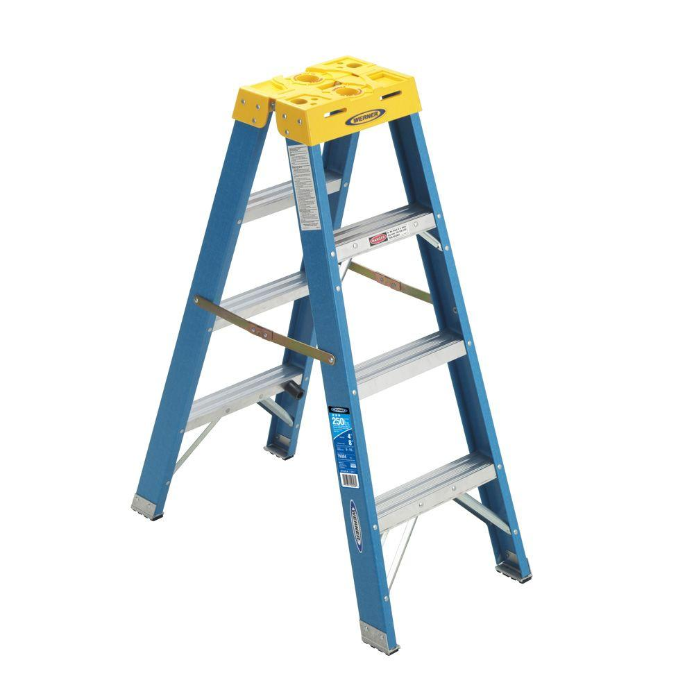 4 ft. Fiberglass Twin Step Ladder with 250 lb. Load Capacity
