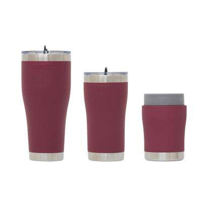 Chillski 12 oz. Tumbler, 20 oz. Tumbler with Lid and 30 oz. Tumbler Dark Maroon Drink Set with Lid (3-Pack)