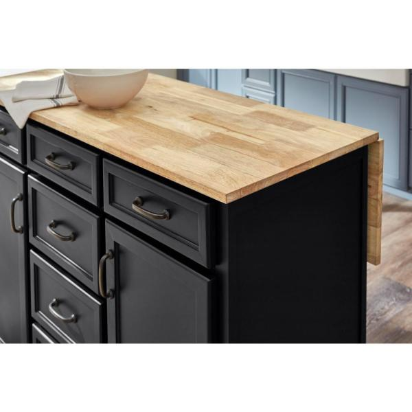 Home Decorators Collection Home Decorators Collection Black Kitchen Island With Natural Butcher Block Top Sk19304er1 B The Home Depot