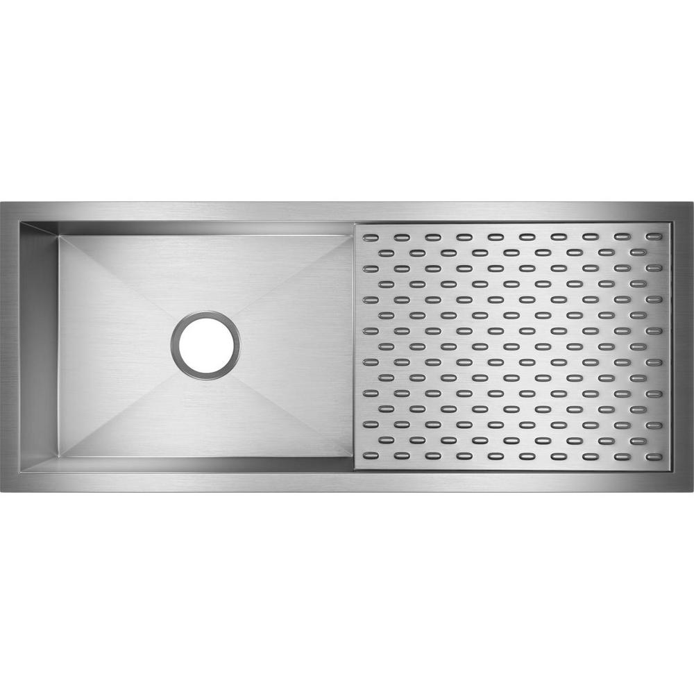 Crosstown Undermount Stainless Steel 44 in. Single Bowl Kitchen Sink