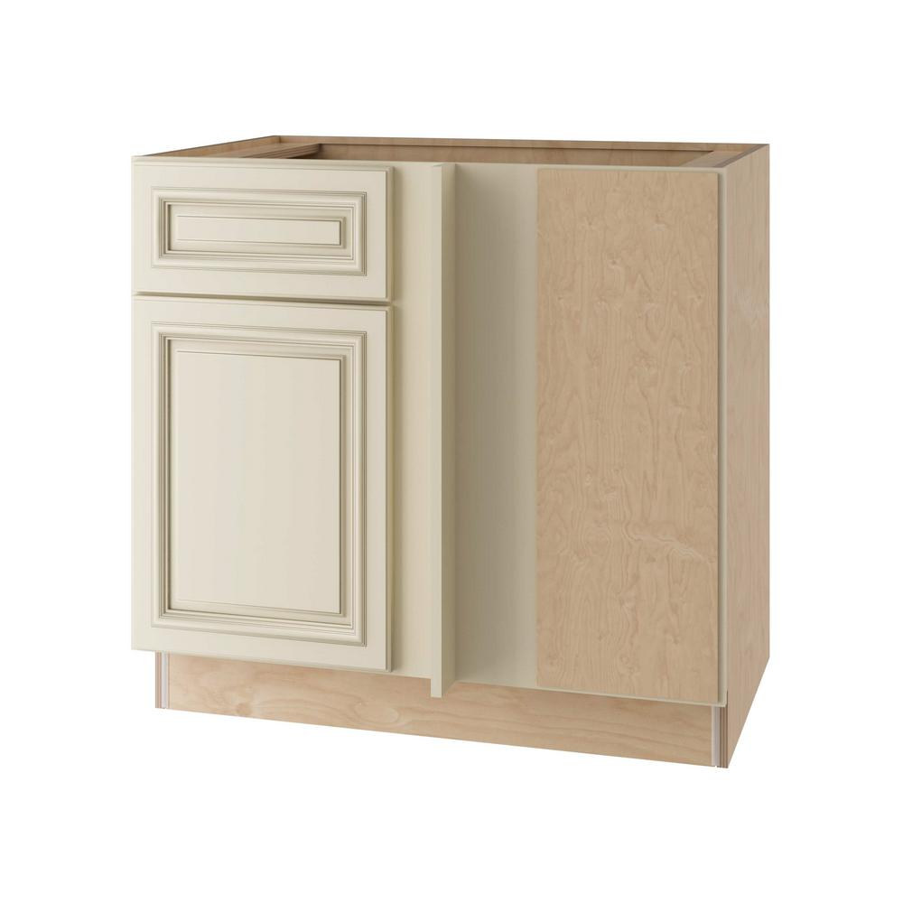 Home Decorators Collection Holden Assembled 36x34.5x24 in. Single Door & Drawer Hinge Right Base Kitchen Blind Corner Cabinet in Bronze Glaze