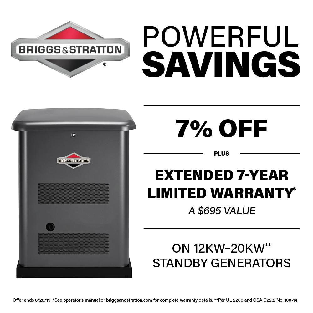 Briggs & Stratton 12,000-Watt Automatic Air Cooled Standby Generator with 100 Amp Transfer Switch