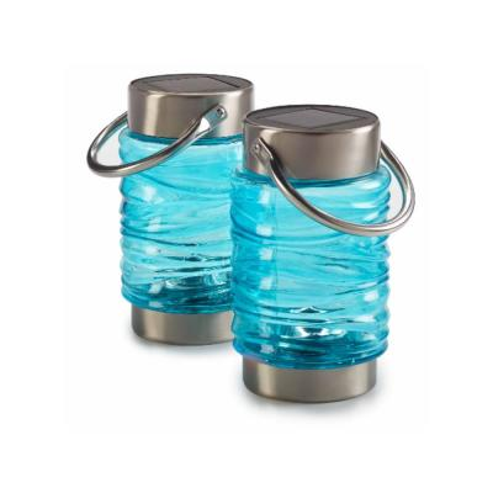 Wave Blue Integrated LED Solar Lantern (2-Pack)