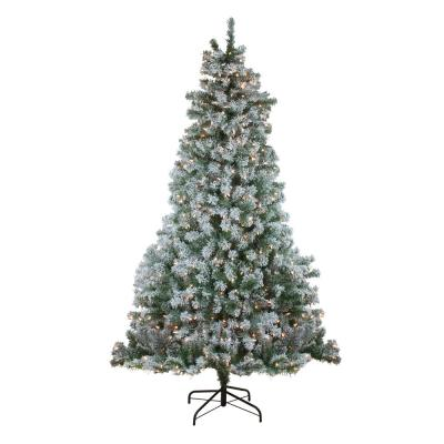 90 in. Pre-Lit Flocked Winema Pine Artificial Christmas Tree - Clear Lights
