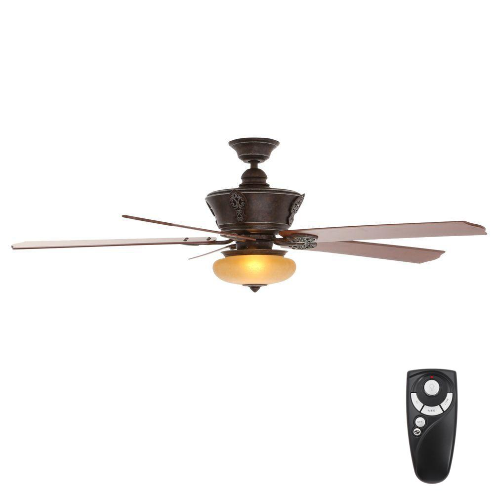 Hampton Bay Enchantment 68 in. Indoor Banci Bronze Ceiling Fan with Light Kit and Remote Control
